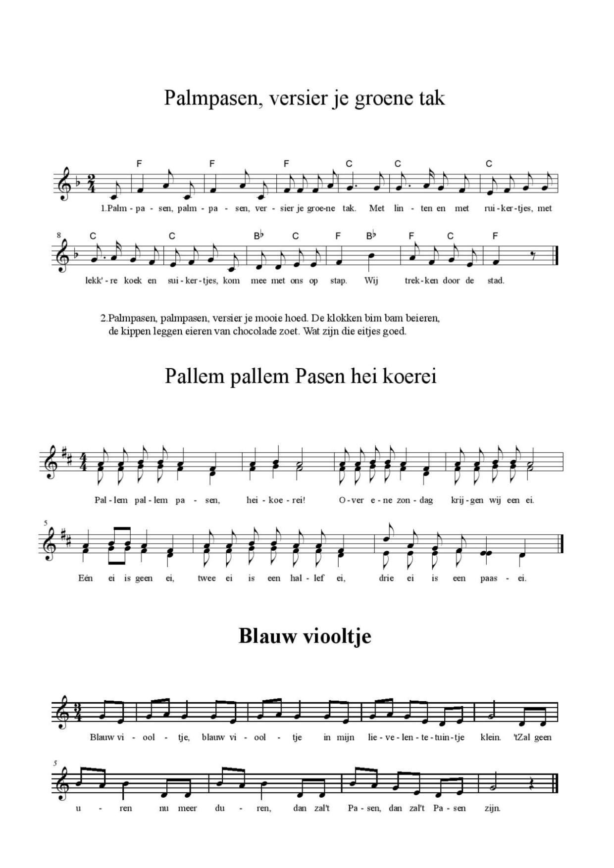 palmpasen liedjes