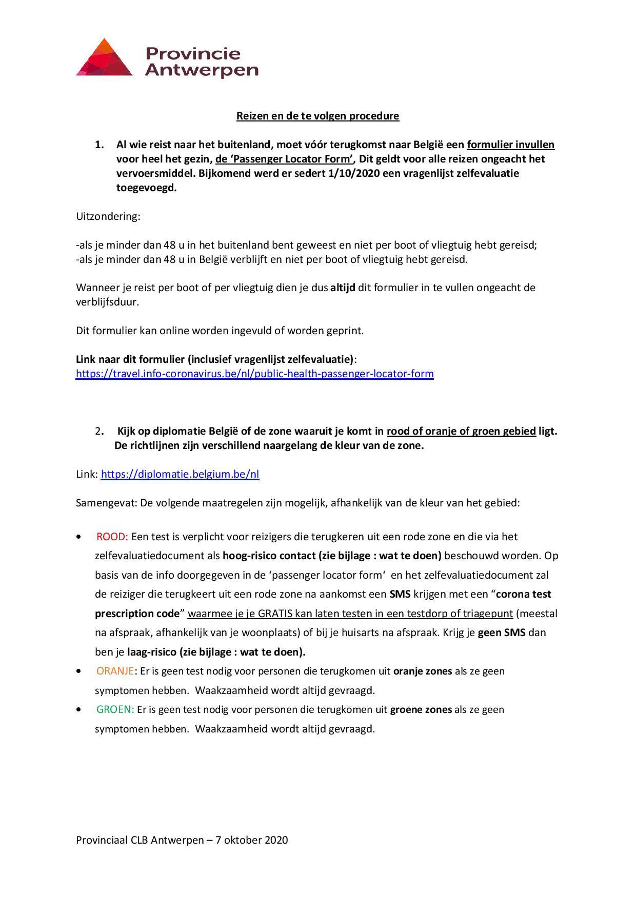 Reizen en de te volgen procedure page 001